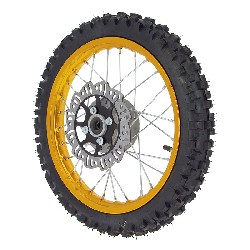 Roue Avant Complète 14'' Or pour Dirt Bike AGB27 (Crampons 10mm)