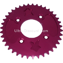 Couronne dirt bike 39 dents Coeur Aluminium (Rouge, type 1, 420)